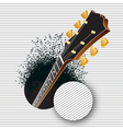 A guitar pops out of a hole vector image