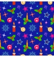 Christmas seamless pattern Candles balls holly vector image