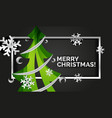 christmas tree cut paper art modern minimal vector image