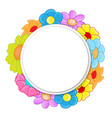 circle banner with flowers vector image