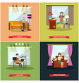 set of radio station posters banners in vector image