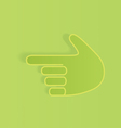 The hand specifying the direction on a green vector image