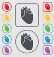 Human heart icon sign symbol on the Round and vector image