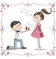 man asking woman to marry him cartoon vector image