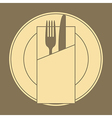 Knife fork plate and napkin vector image vector image