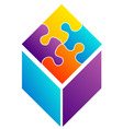 Colorful puzzle- corporate logo for business vector image vector image