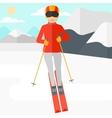 Young woman skiing vector image vector image