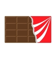 Chocolate bar icon Opened red wrapping paper foil vector image