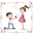 man asking woman to marry him cartoon vector image