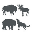 monochrome set silhouette wildlife animals of vector image