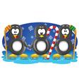 Three hockey penguins vector image