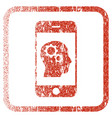 smartphone intellect gears framed textured icon vector image