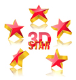 3d red star set vector image
