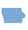 State Map Of Iowa By Counties vector image