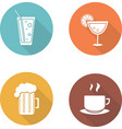 Drinks flat design icons set vector image