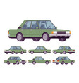 green sedan set vector image