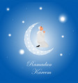 islamic man praying in cartoon style at night vector image