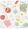 Retro seamless pattern with knitting accessories vector image