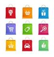 Shopping icon set on shopping bag vector image