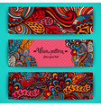stylish floral banners Bright doodle cartoon cards vector image
