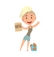 young happy woman standing with a sign hitchhiking vector image
