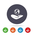 World insurance sign Hand holds earth vector image