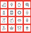 set of 16 gardening icons includes helianthus vector image