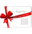 Greeting card with a red ribbon vector image vector image