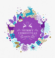 Merry christmas happy new year reindeer label card vector image