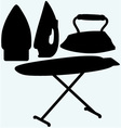Set iron and ironing board vector image vector image