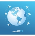 Airplanes flying around the globe Travel concept vector image