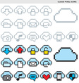 cloud pixel icons vector image