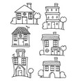 House and building set hand draw vector image