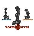 Training fitness woman emblem set vector image