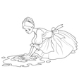 Sad Cinderella Wash the Floor vector image