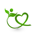 Healthy leafs with heart shape logo vector image
