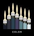 Color paint brush strokes on black page vector image