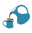 Coffee pouring from a jug into cup Isolated vector image