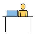 businessman sitting desk laptop working vector image