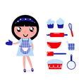 girl with kitchen accessories vector image