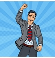 Pop Art Excited Businessman Celebrating vector image