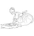 Sad Cinderella Wash the Floor vector image