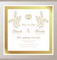 romantic wedding invitation with gold rings vector image