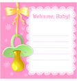 Baby greetings card with pacifier vector image