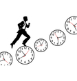Busy man hurry up work day clock vector image vector image