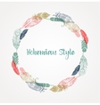 Bohemian style poster with gypsy colorful feathers vector image