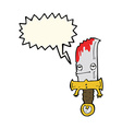 bloody knife cartoon character with speech bubble vector image