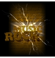 music on a brick background crack rock vector image