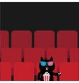 Cat sitting in movie theater eating popcorn Cute vector image