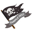 black jolly roger pirate flag with ribbon banner vector image